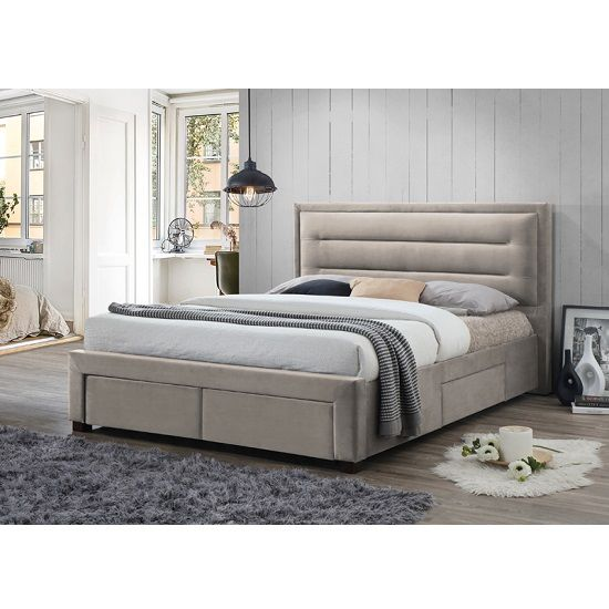 Canterbury Contemporary Fabric Bed In Champagne With Storage Bunk Bed Designs Upholstered Beds Upholstered Bed Frame