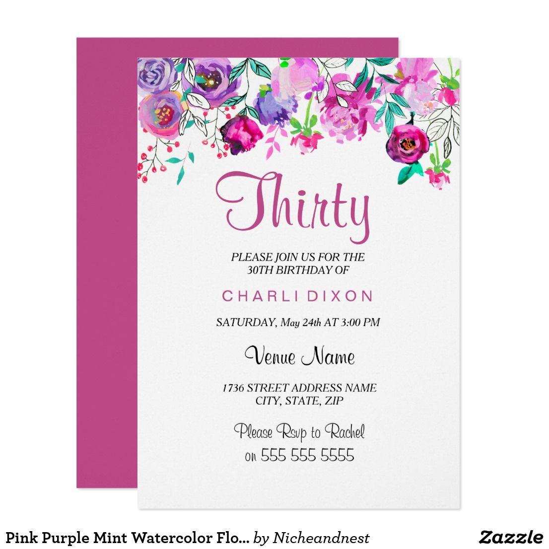 Pink Purple Mint Watercolor Flowers 30th Birthday Card Pink Purple ...