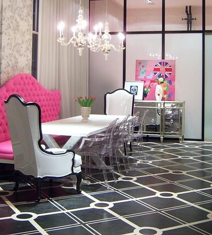 Dining Rooms   Hilary White Liv Chic Modern Baroque Pink Dining Room Lucite  Chairs Mirrored Buffet Chandelier Tufted Black And White Punk Love |  Pinterest ...