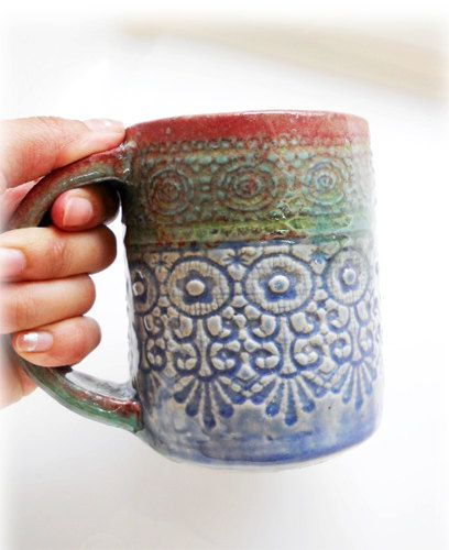 Special Color, Unique Mug, A Beautiful Green U0026 Blue With Red Rim, Sweet