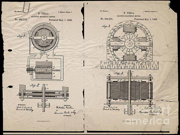 Nikola Tesla's Magnetic Motor Patent 1888 by Paulette B Wright   US