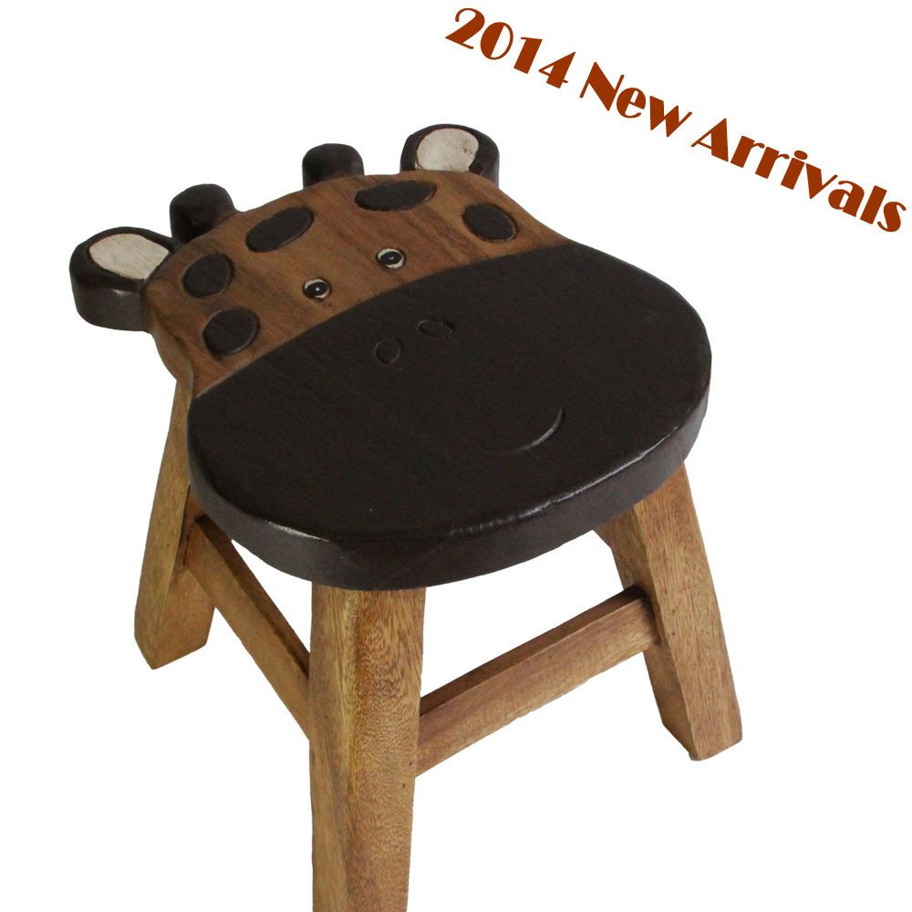 OSAKA Kids Wooden Step Stool Chair Mango Wood Timber Children Furniture  Giraffe