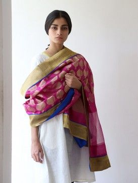 Pink Silk Zari Dupatta by Raw Mango with plain white churidar suit ...