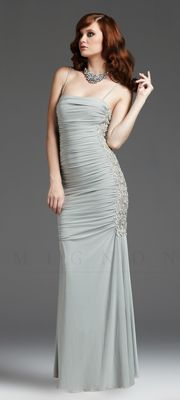 Dew Ruched Embroidered Jersey Open Back Prom Dress