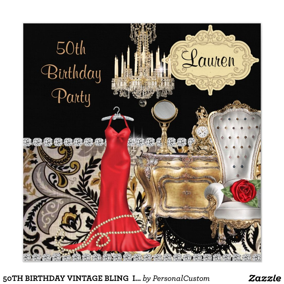 50TH BIRTHDAY VINTAGE BLING Invitation   BIRTHDAY INVITATIONS ...