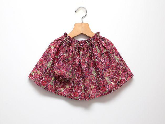 Röcke - Rote Blume Mädchen Rock from Liberty Tana Lawn - ein Designerstück von ZanziBach bei DaWanda