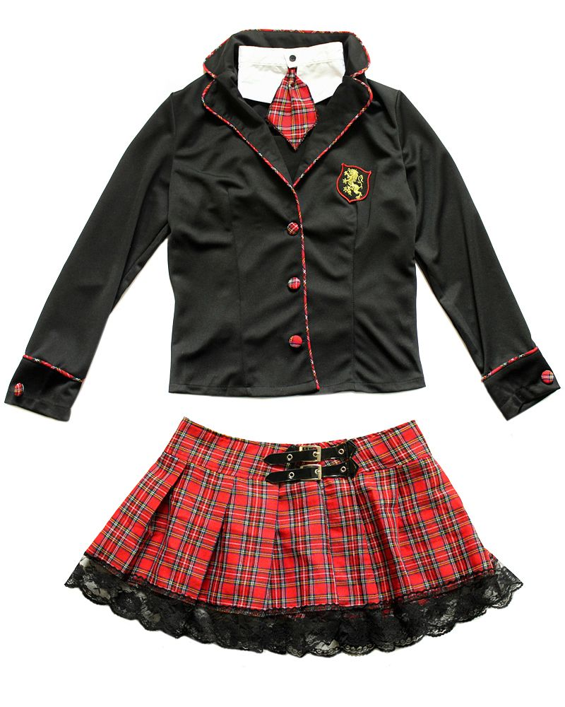 An elaborate Harry Potter inspired sexy school girl costume with see thru black netting shirt and tear off skirt.