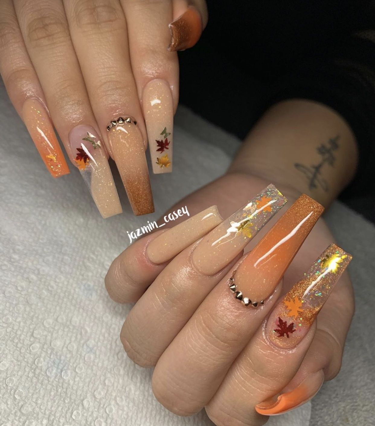 Fall Acrylic Nails Ideas Orange Gold And Tan Coffin Nails With Leaves And Rhinestones In 2020 Fall Acrylic Nails Coffin Nails Designs Long Acrylic Nails