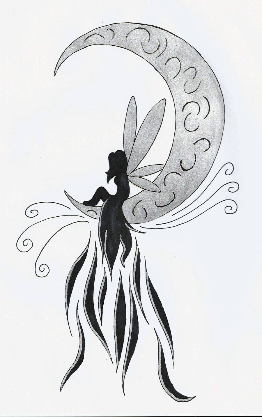 Tattoo Stencils Printable Moon: Fairies Sitting On A Moon Tattoos - Google Search