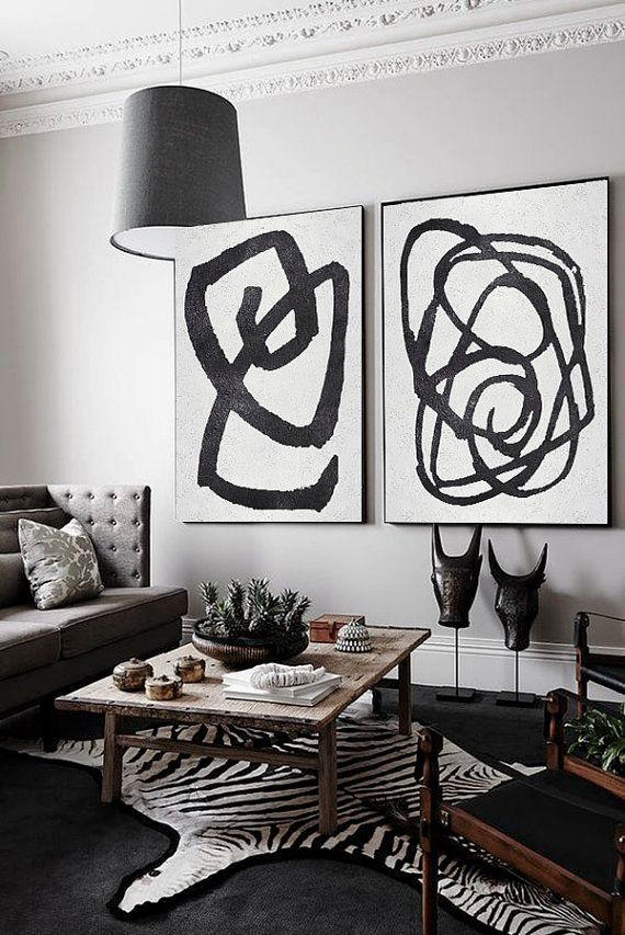 Set Of 2 Extra Large Contemporary Art Acrylic Modern Wall On Canvas Minimalist Handmade Celine Ziang