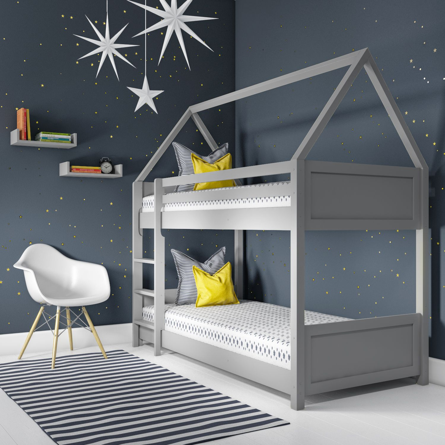 Kids House Bunk Bed In 2020 House Bunk Bed Kids Bunk Beds Grey