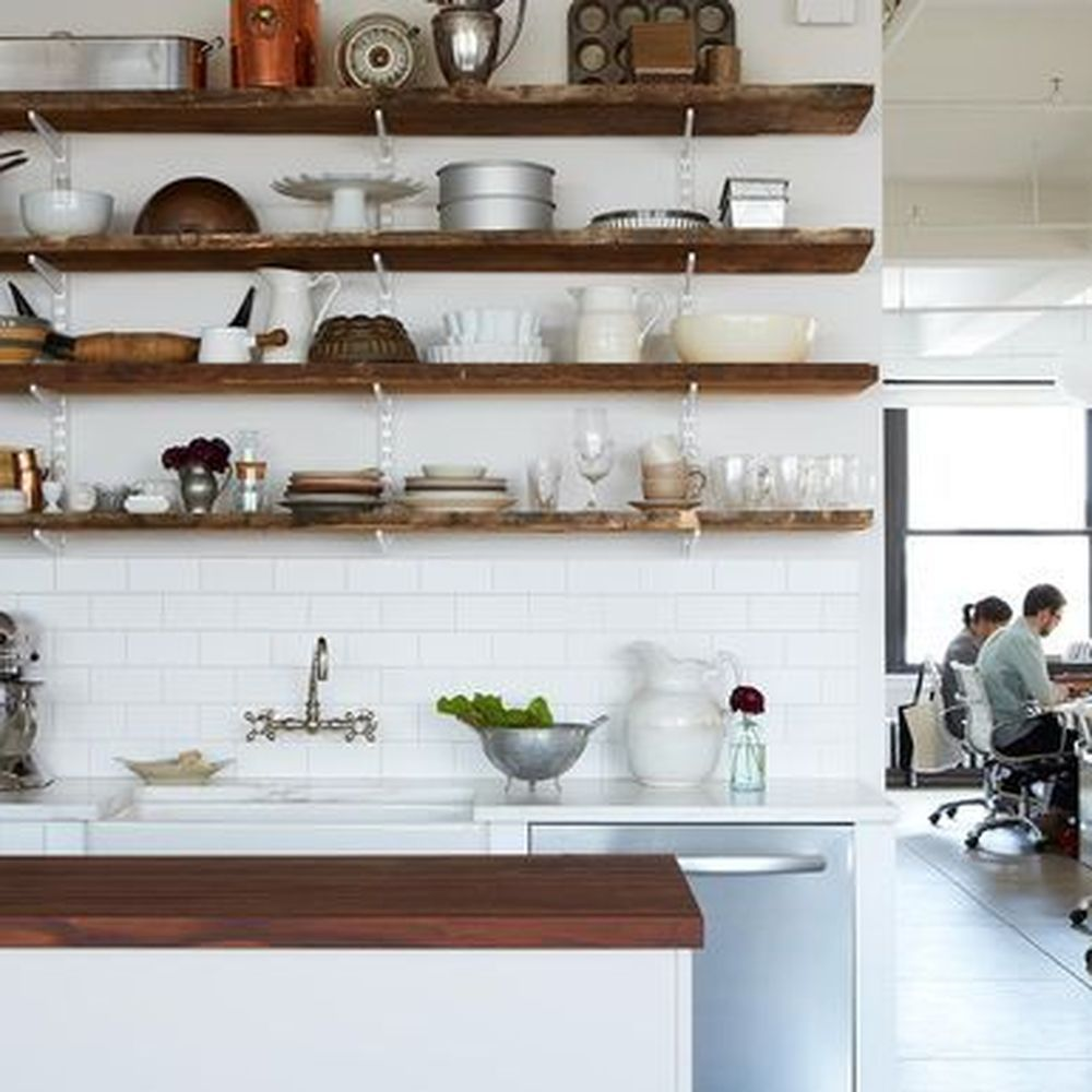 a tour of the food52 kitchen floating shelves kitchen floating shelves floating shelf decor on kitchen floating shelves id=75924