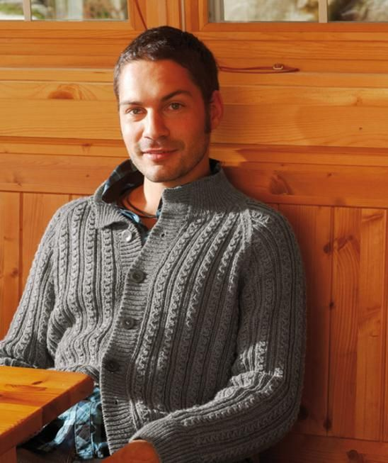 Men\'s Jacket and Scarf with Fantasy Ribs pattern | Men Knitwear ...