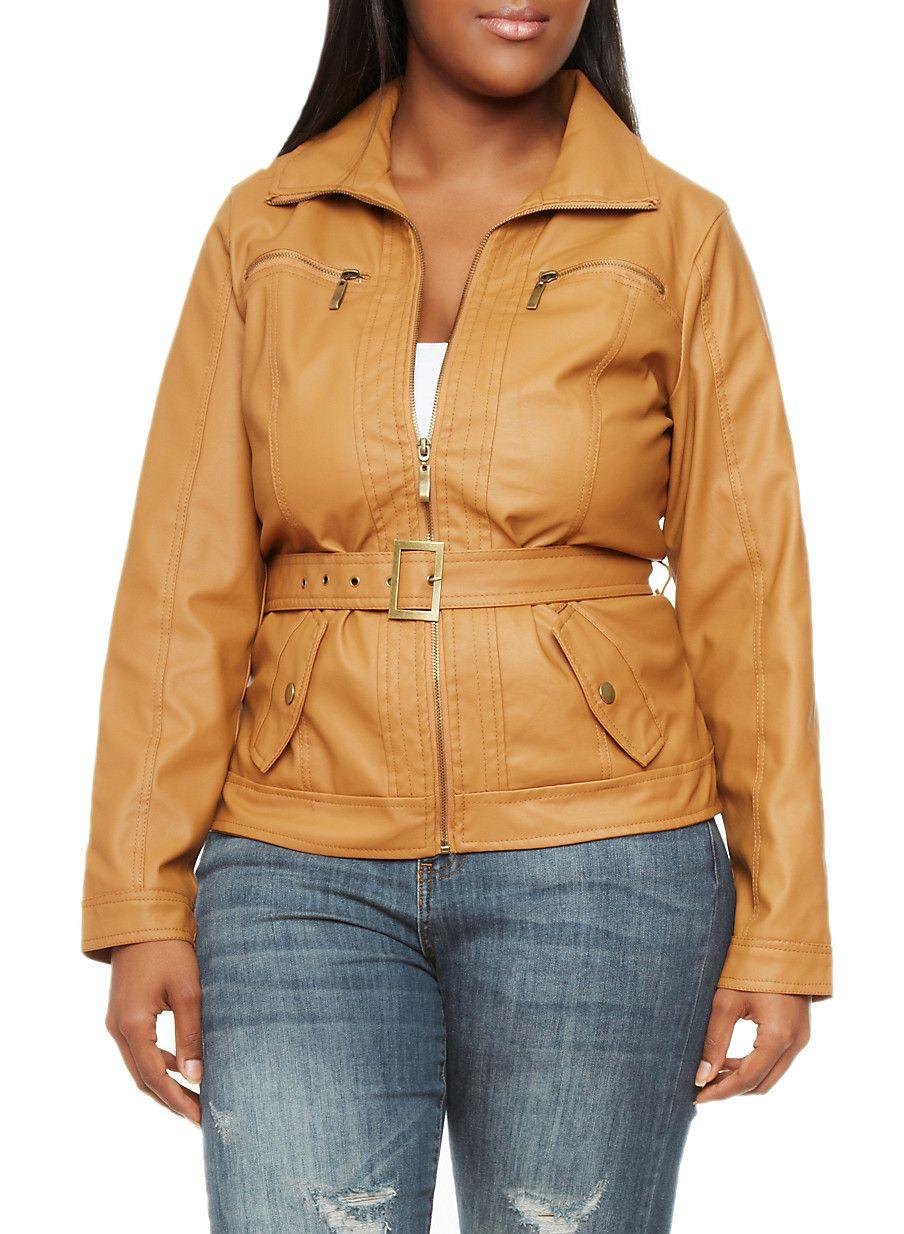 19bbffbc58b Rainbow Plus Size Belted Faux Leather Moto Jacket