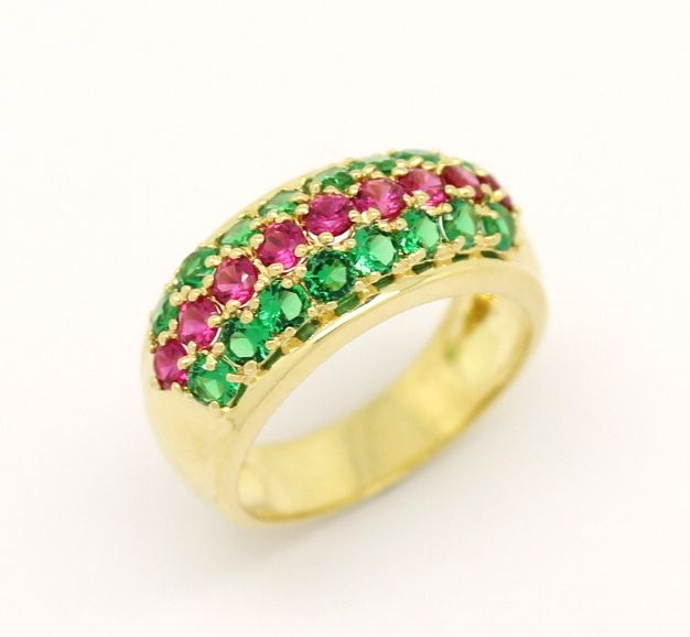 Meia Aliança Esmeralda Rubi Ouro Amarelo 18k 750   Joias - Jewelry ... b74d463b0e