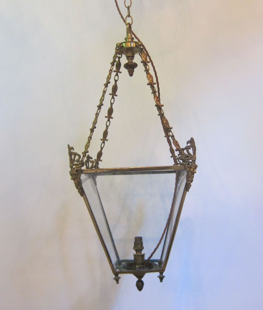 English Regency style lantern in the original brass finish, previously for a single candle, and now rewired for electricity. c 1900-1910  www.antiquelightingcompany.com