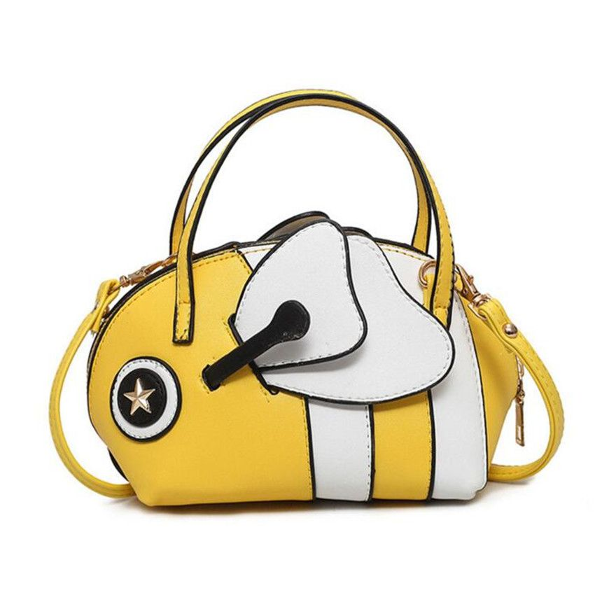M577 2017 New Women Bag Spring Summer Cartoon Cute Little Bee Ugly Fish Bag  Hit Color