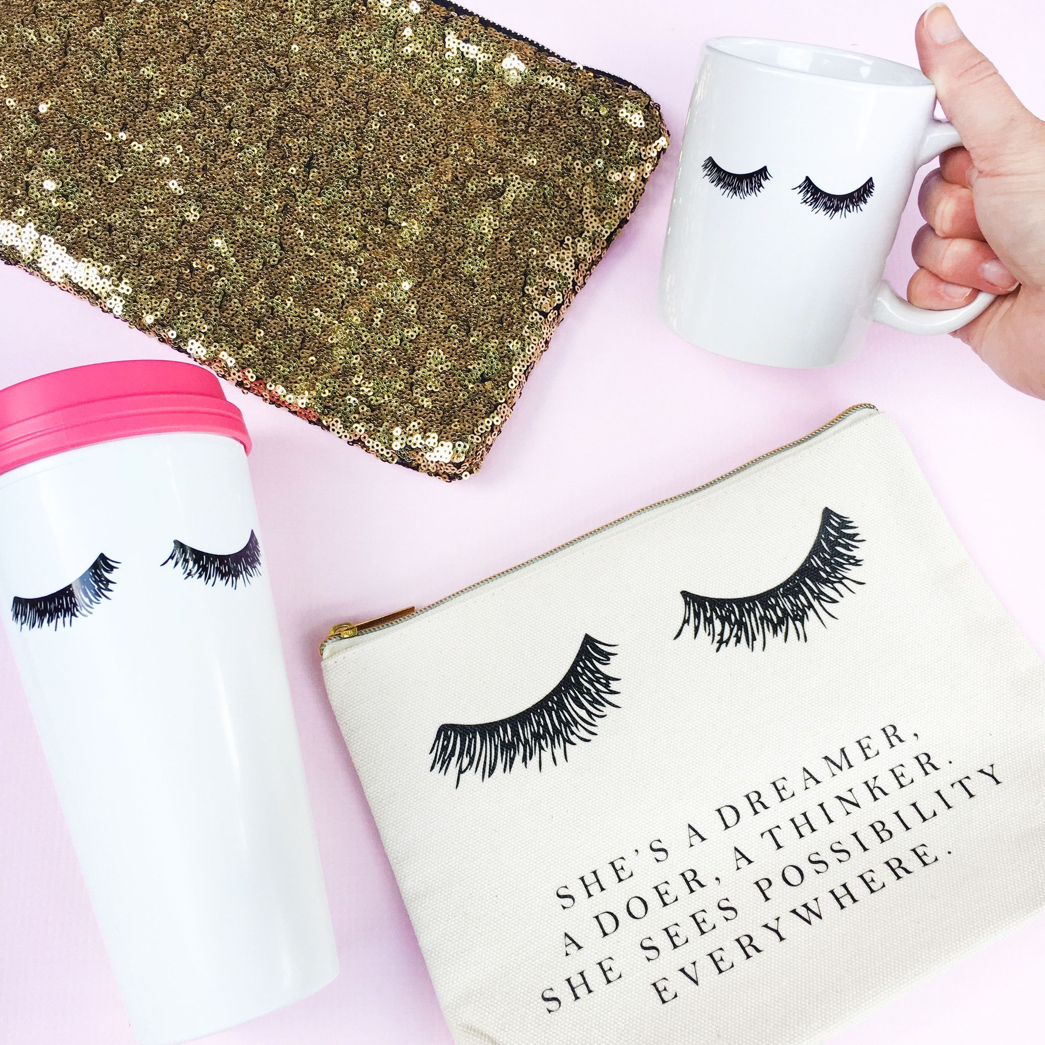 ae122d44745 Add a little glam to your morning routine with our hand-drawn eyelashes  coffee mug