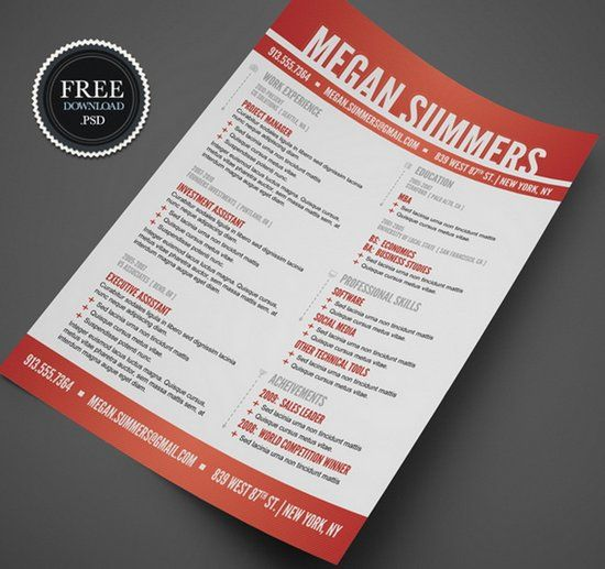 28 free cv resume templates html psd indesign - Free Creative Resume Templates Word