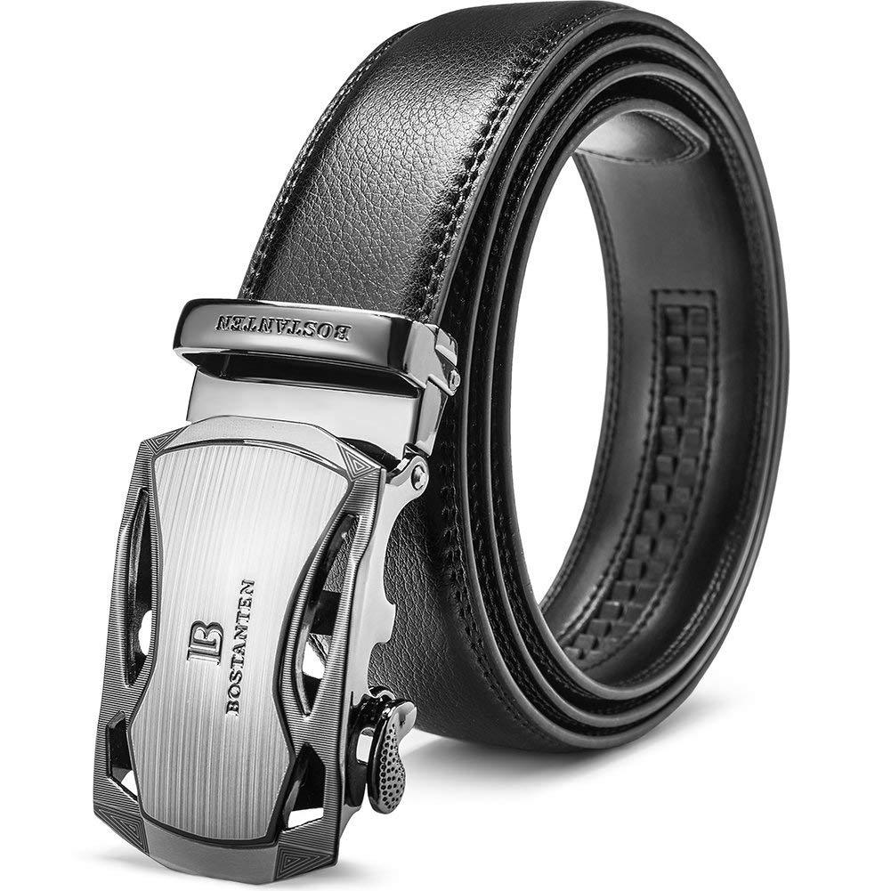 Men's Leather Ratchet Dress Belt with Automatic Sliding
