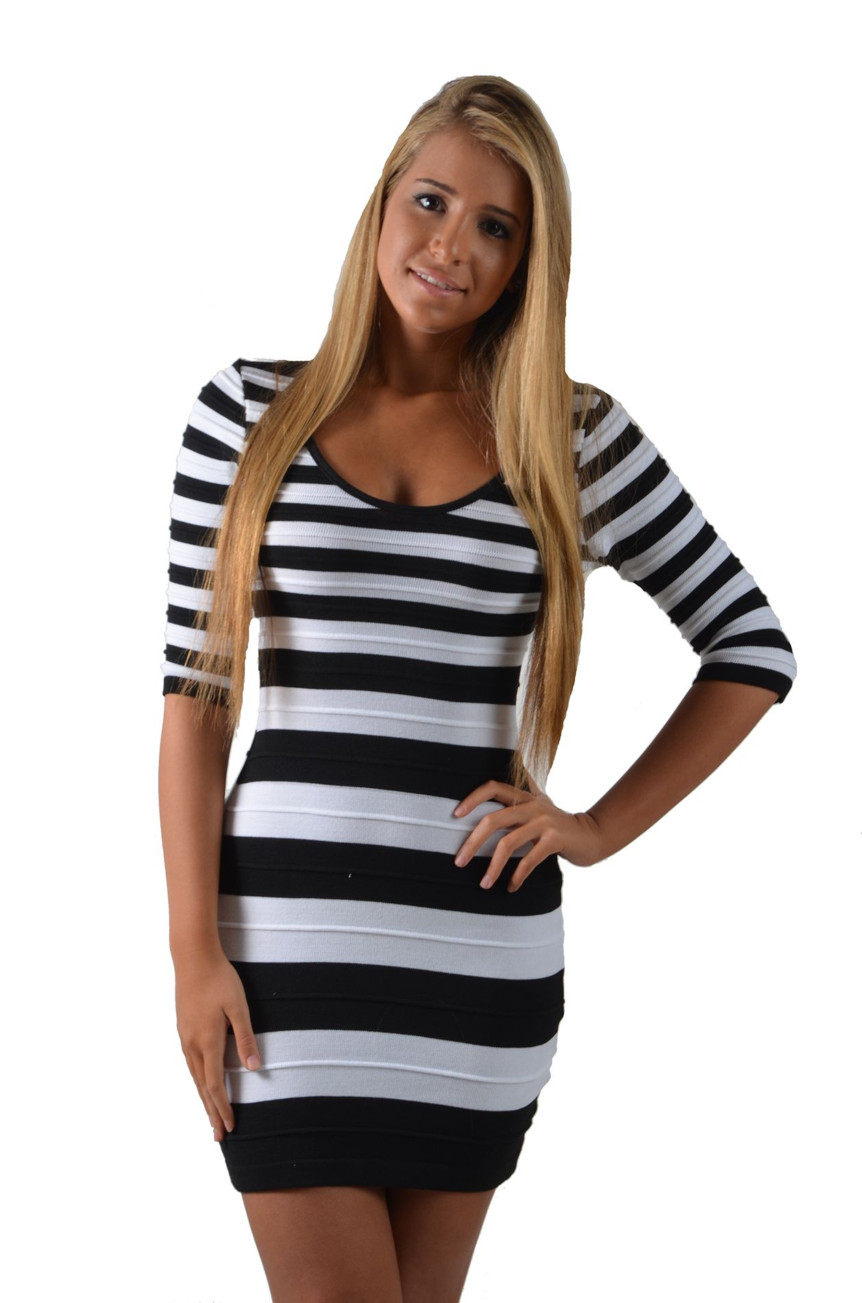 de789ab69e0 UsTrendy Black and White 3 4-Sleeve Knit Fitted Striped Sweater Dress