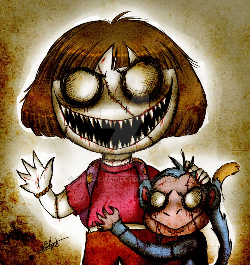 Dora the Explorer and Boots (Zombie version) by Eilyn-Chan.deviantart.com  on @DeviantArt | Scary drawings, Scary art, Zombie cartoon
