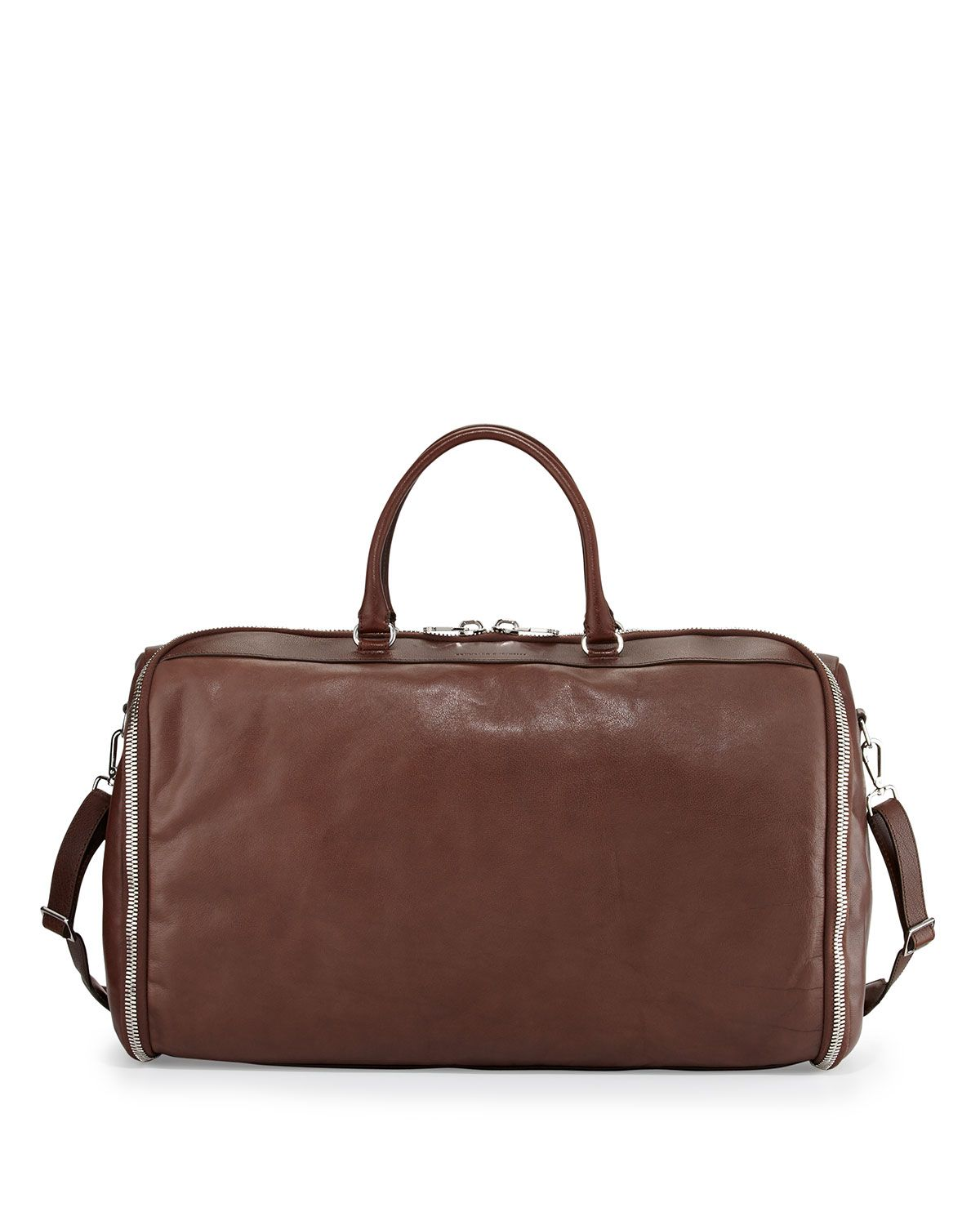 19ff943b3142 Roll-Up Leather Garment Bag Brown   *Luggage & Bags > Garment Bags ...