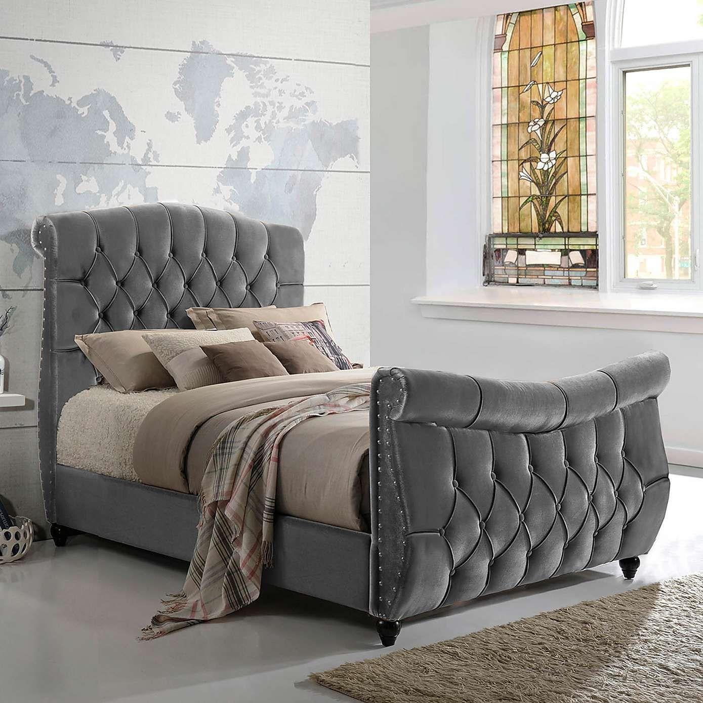 Lachelle Grey Velvet Upholstered Bed Frame - Dunelm
