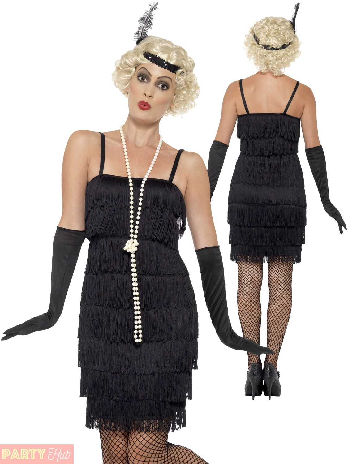 Adult Black Flapper Costume 20s Charleston Ladies Gangster Fancy Dress Outfit