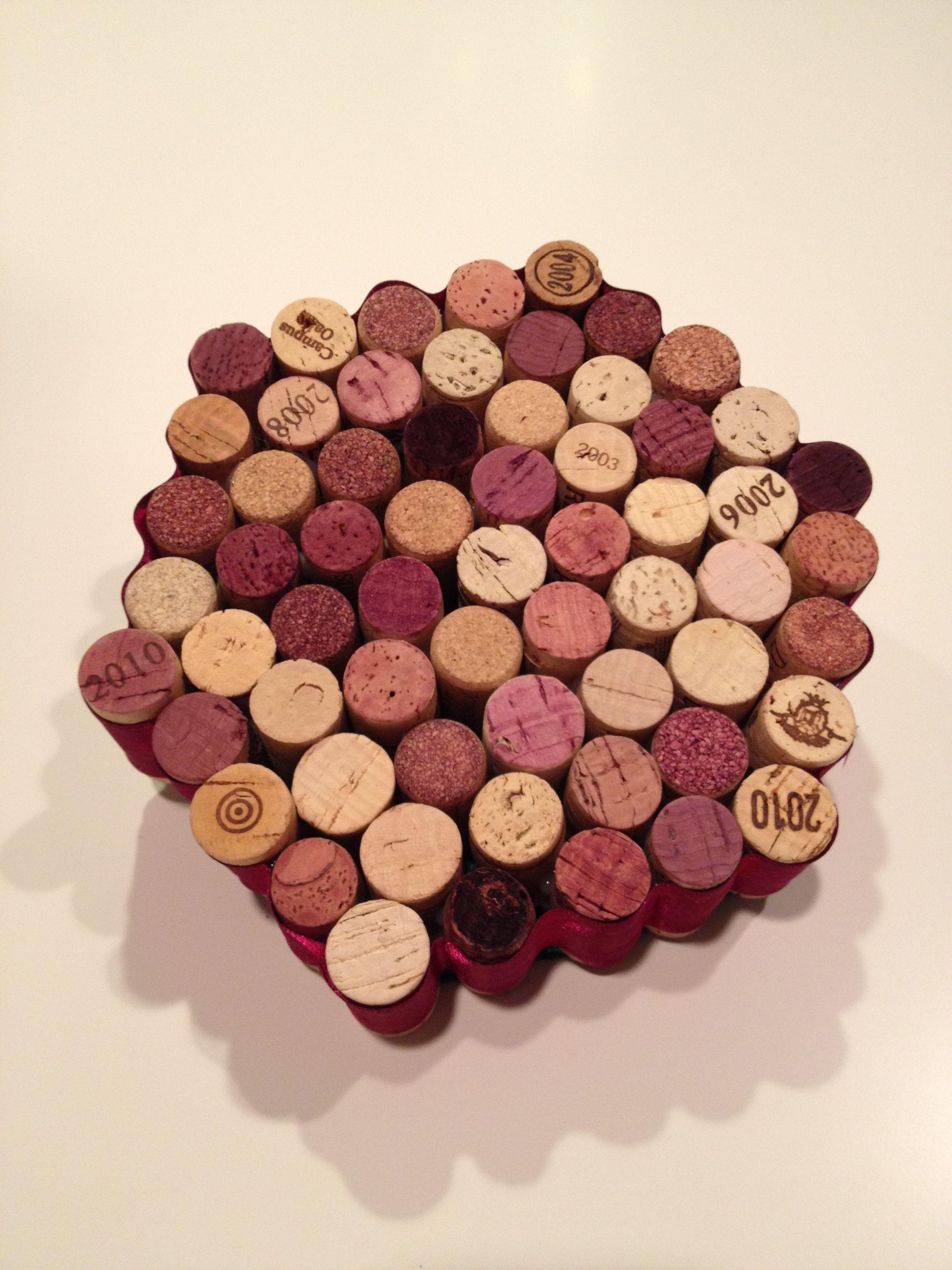 Wine Cork Trivet Wrapped With Ribbon Wine Cork Trivet Cork Trivet