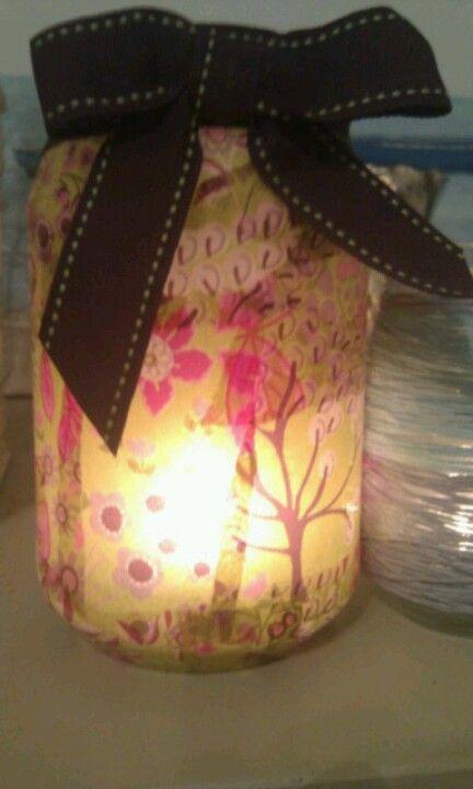 Mod podge candle jar decoupage
