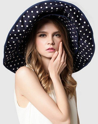 312d101a007 Superstart Women Sun Hat Lady Ultravioletproof Head Cap Foldable Cycling Cap  for Travelling Blue dot    Check this awesome product by going to the link  at ...
