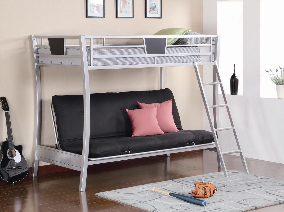 Nice Bunk Beds | ... Bunk Bed With Black Couch Equipped With Pillows And