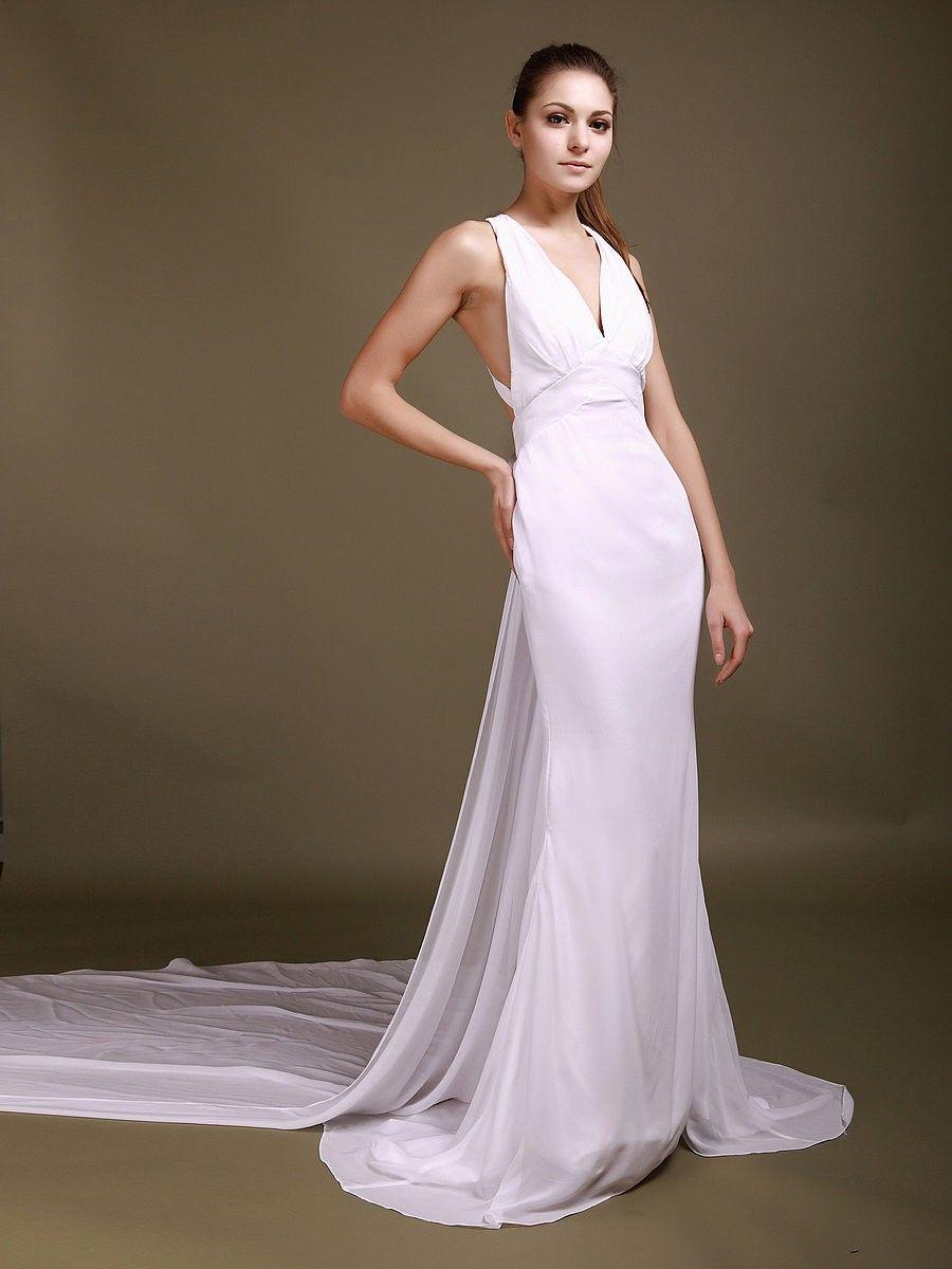 Beach wedding dress under 500  Crossed Back Mermaid Wedding Dress   Renewal Dresses