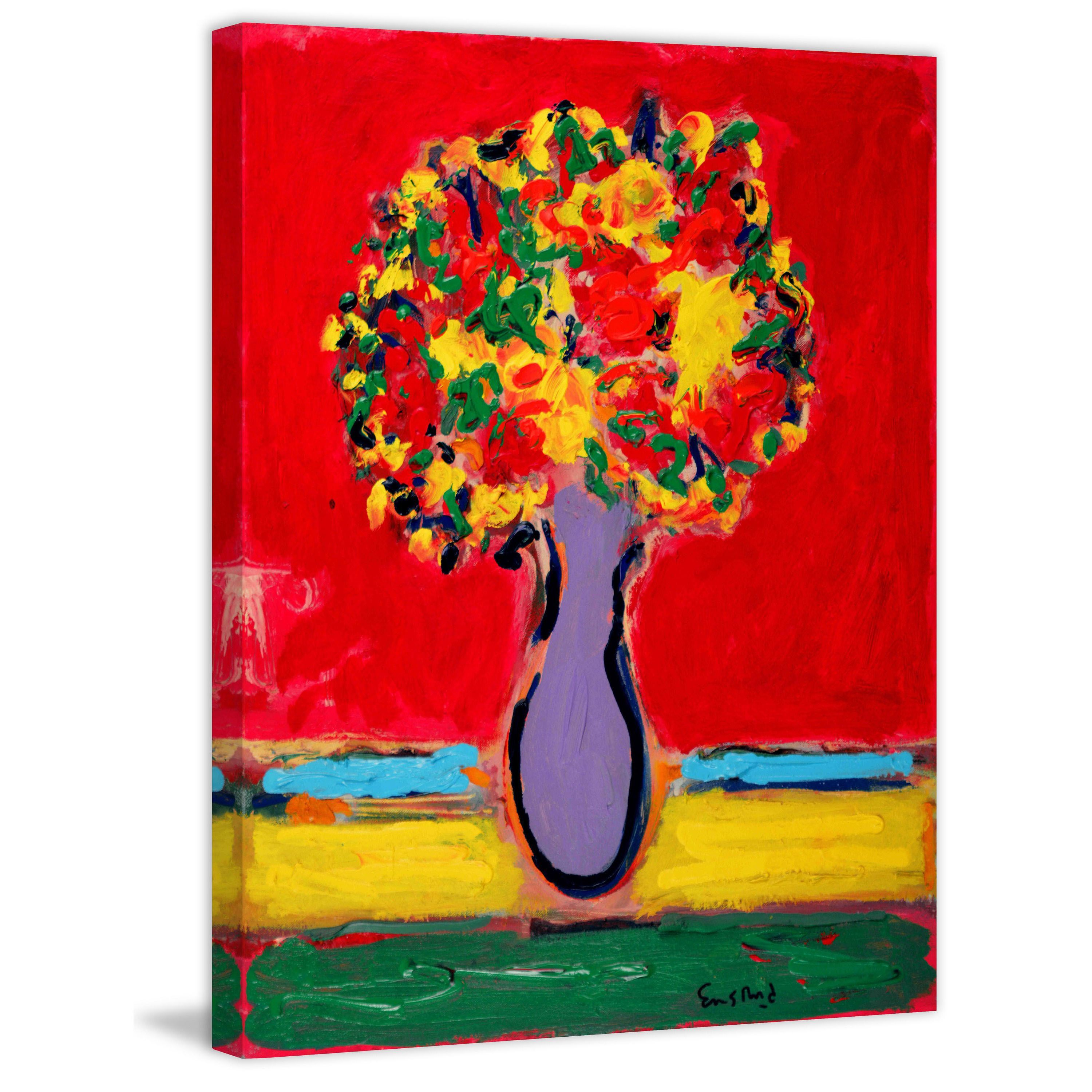 Marmont Hill - 'Violet Vase' by Michael Woodward Painting Print on