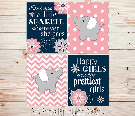 Elephant Nursery Wall Decor navy coral girls room wall décor-baby girl nursery-elephant
