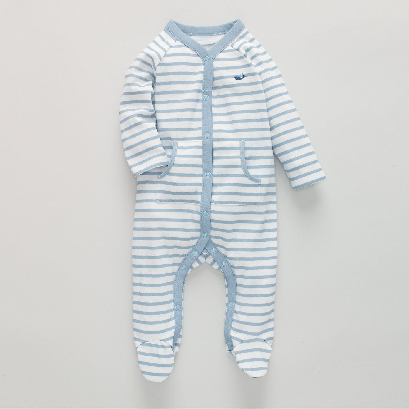 Whale Stripe Baby Sleepsuit $27.64