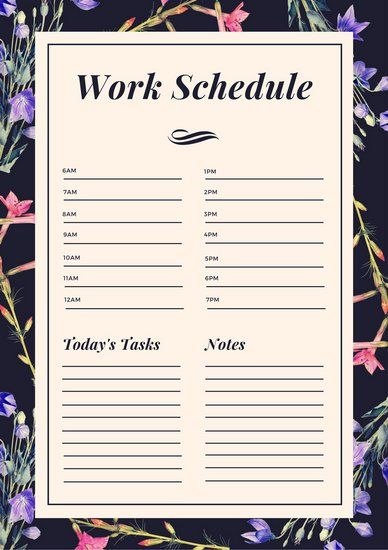 indigo floral watercolor work schedule planner best of cube