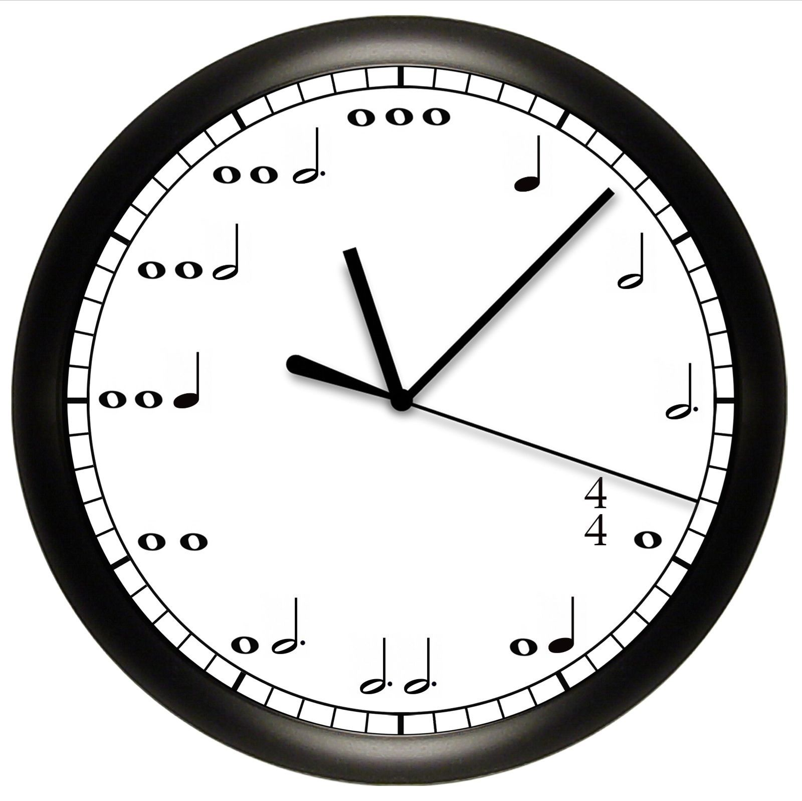 Music Notes Wall Clock Gift Decor Musician 10 Diameter Quiet Sweep Motor Music Themed Bedroom Music Notes Art Music Clock