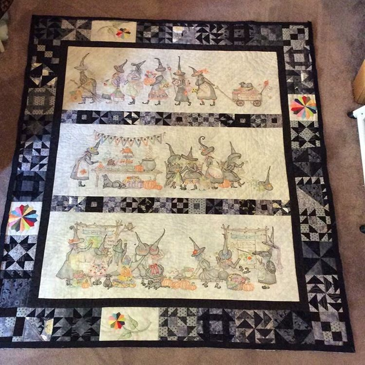 Mystery Of The Salem Witch S Guild Quilt Check Out The Detail Of These Amazing Embroidered Panels Witch Quilt Quilts Halloween Quilts