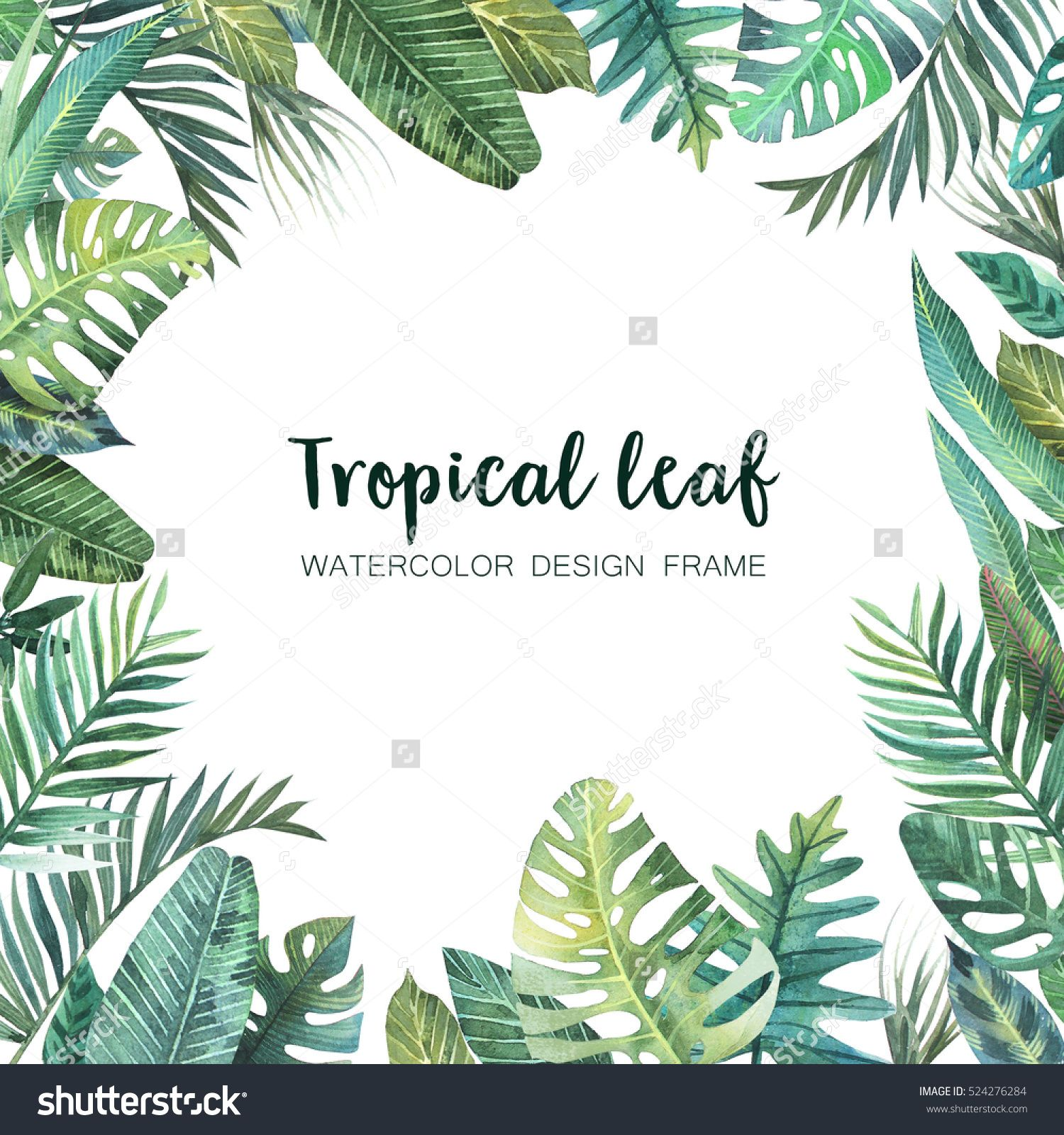 Watercolor frame of colorful tropical leaves. Concept of ...