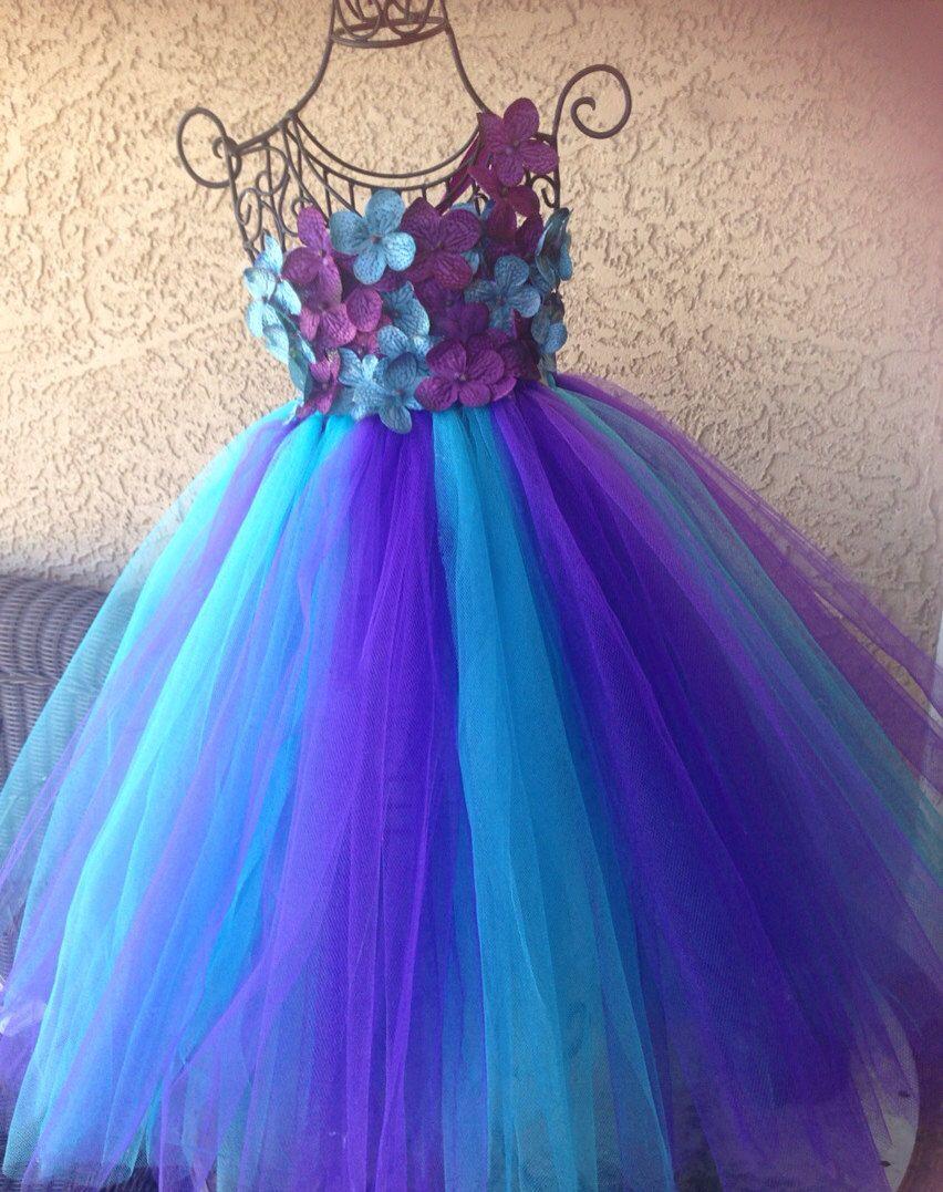 Baby tutu dress and headband hydrangeas purple teal turquoise