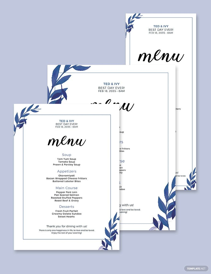 Blue Wedding Menu Template Word Psd Apple Pages Illustrator Publisher Menu Card Template Wedding Menu Template Diy Wedding Menu