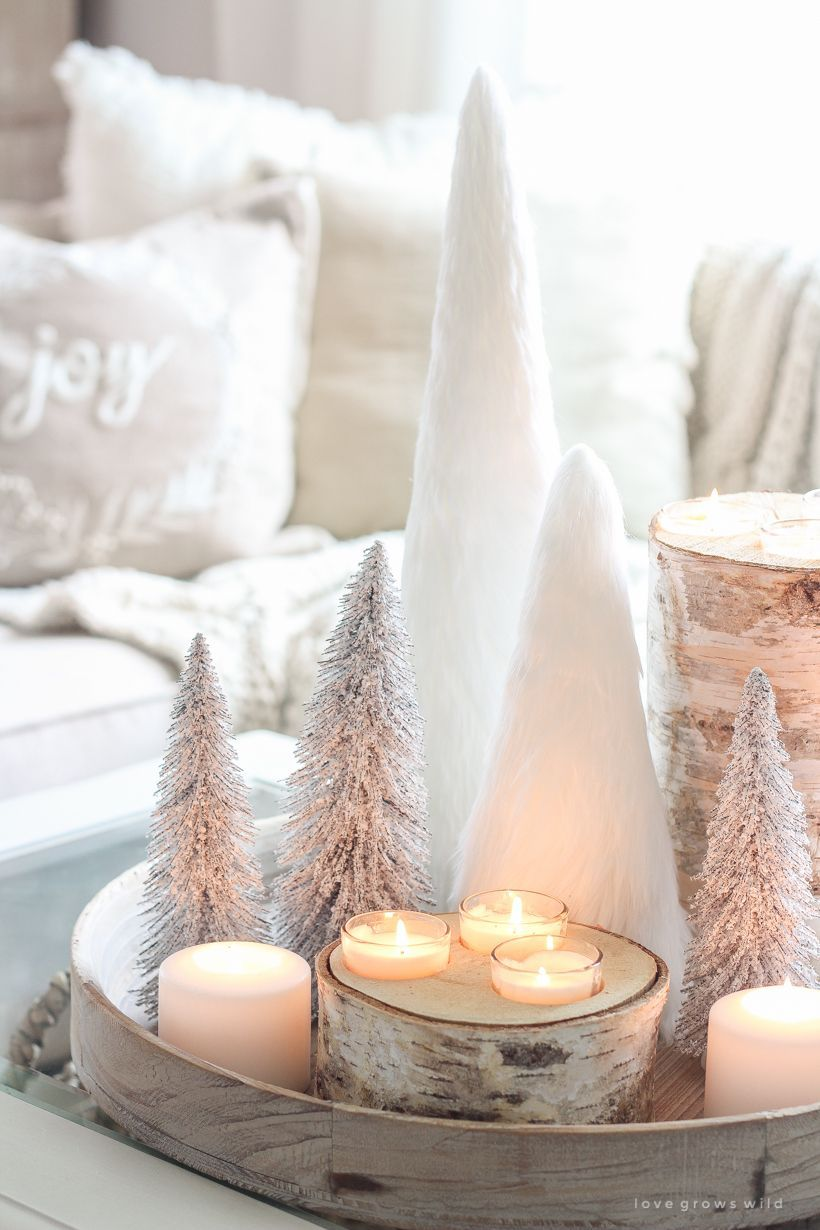 christmas poster #christmas A beautiful neutral, light and bright living room decorated for Christmas #livingroom