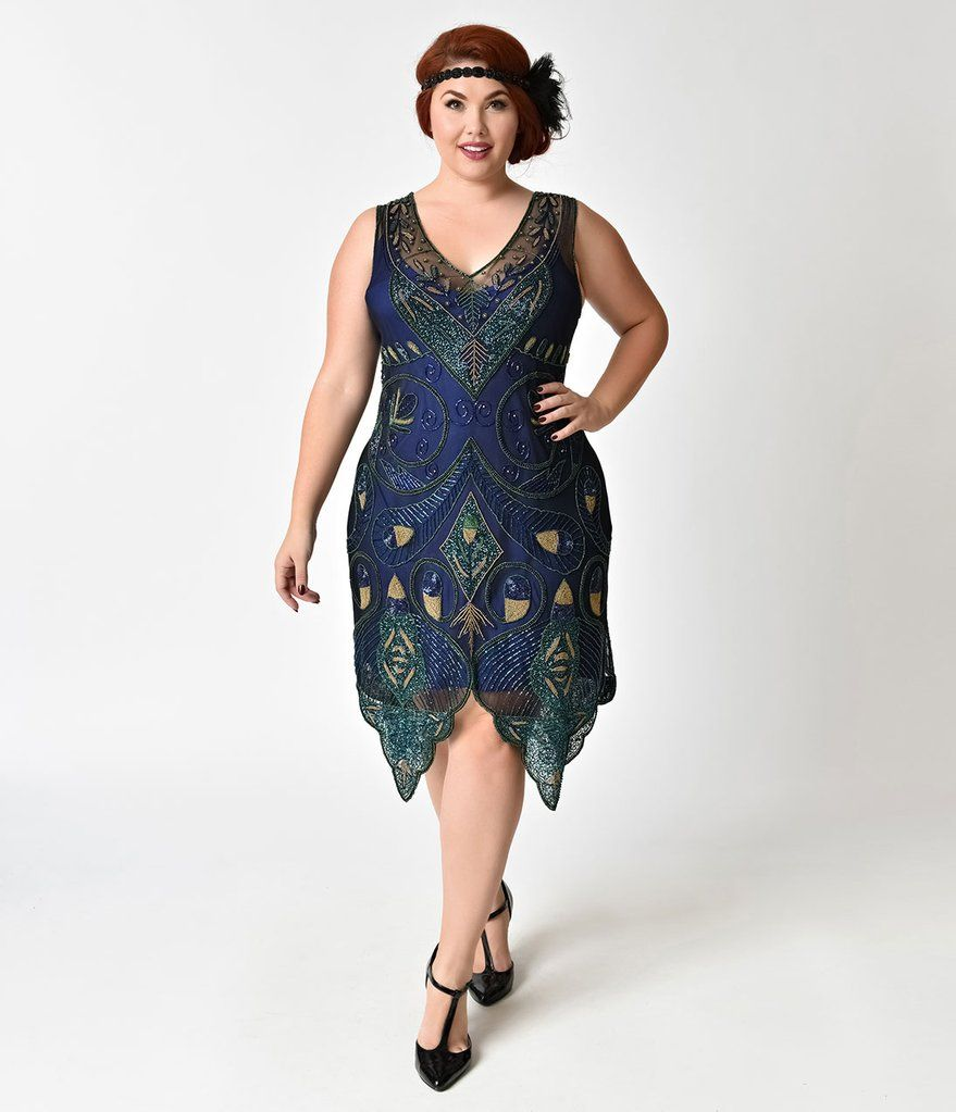S style plus size navy blue u green beaded emma flapper dress