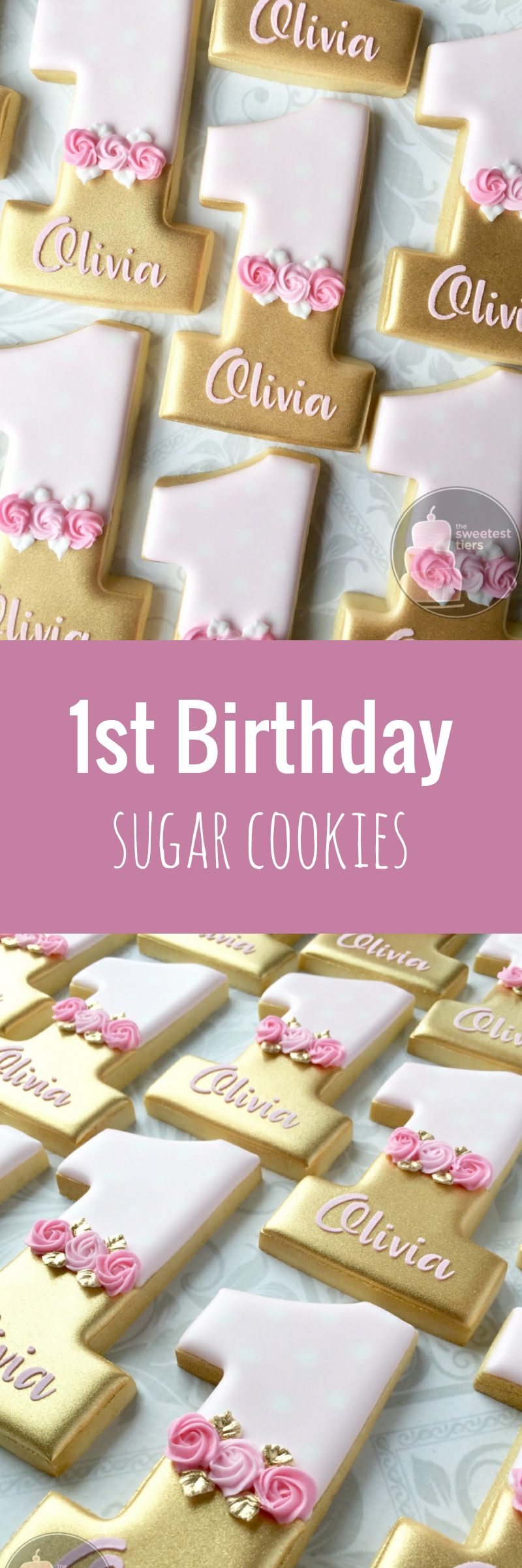 Personalized Pink and Gold First birthday Number 1 (one) - Decorated ...