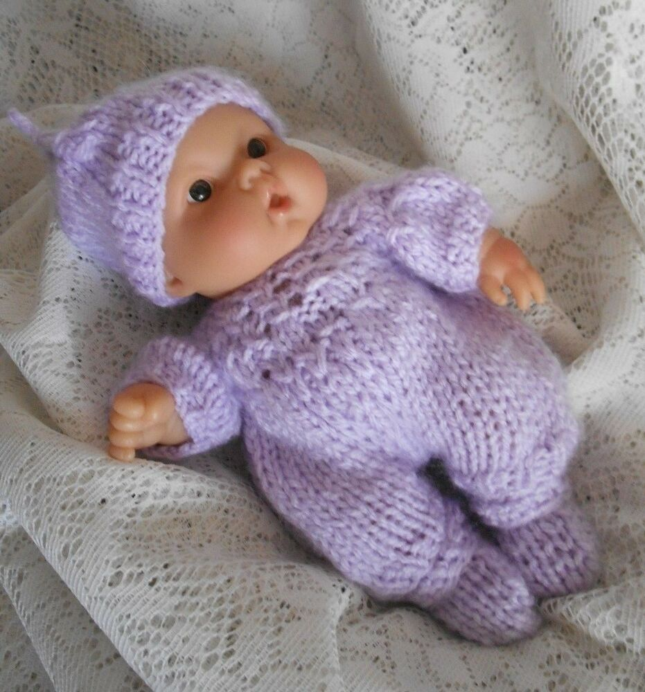 Doll Clothes Lilac Hand knitted romper 3pc set for baby ...
