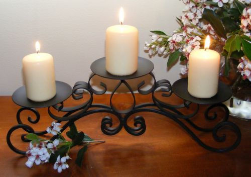 Vintage Wrought Iron Candle Holder Table Top Candle Holder