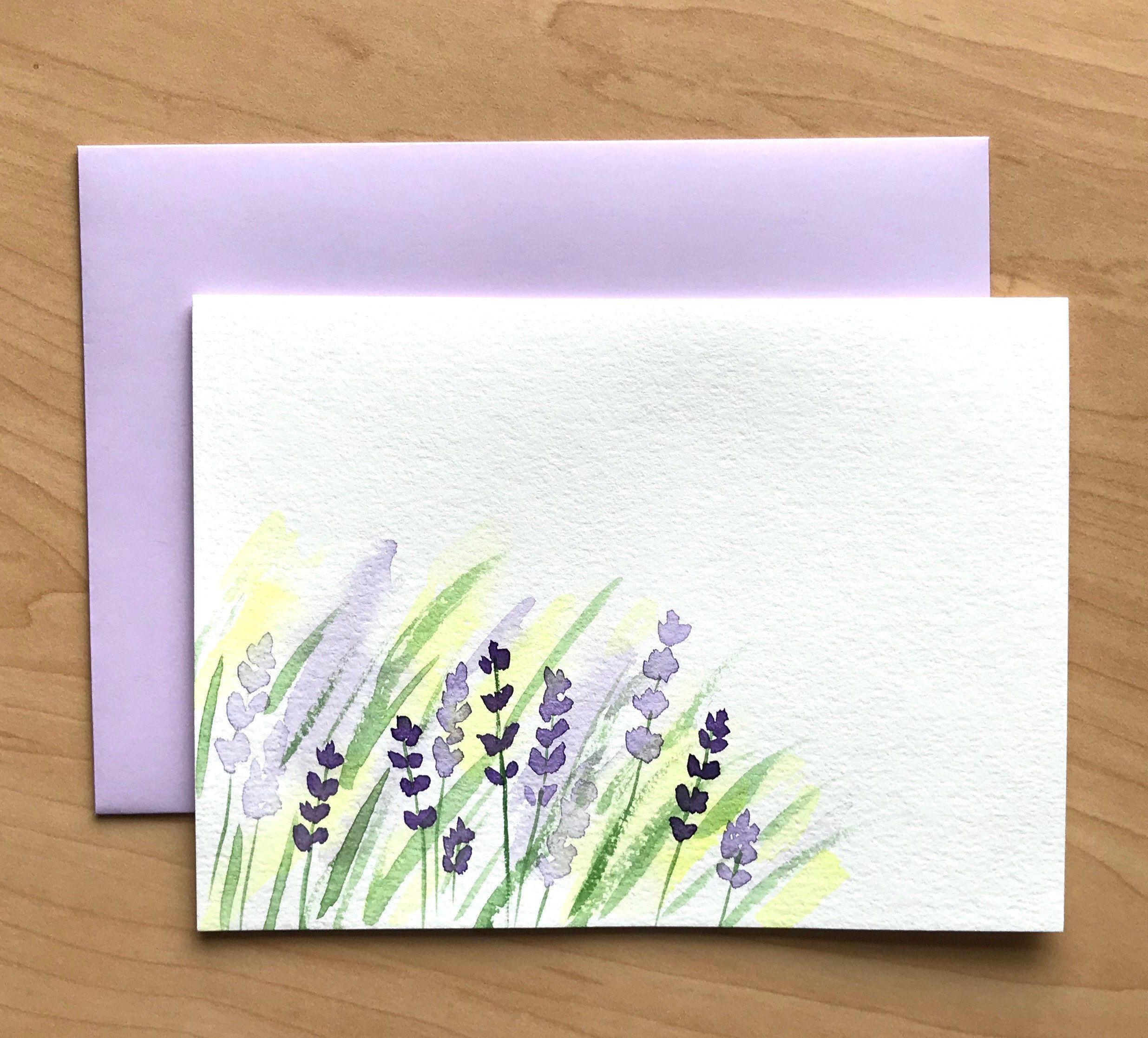 Hand Painted Greeting Card 5x7 Lavender Blank Card Original Watercolor Cards Handmade Card Watercolor Birthday Cards Hand Painted Card Diy Watercolor Cards