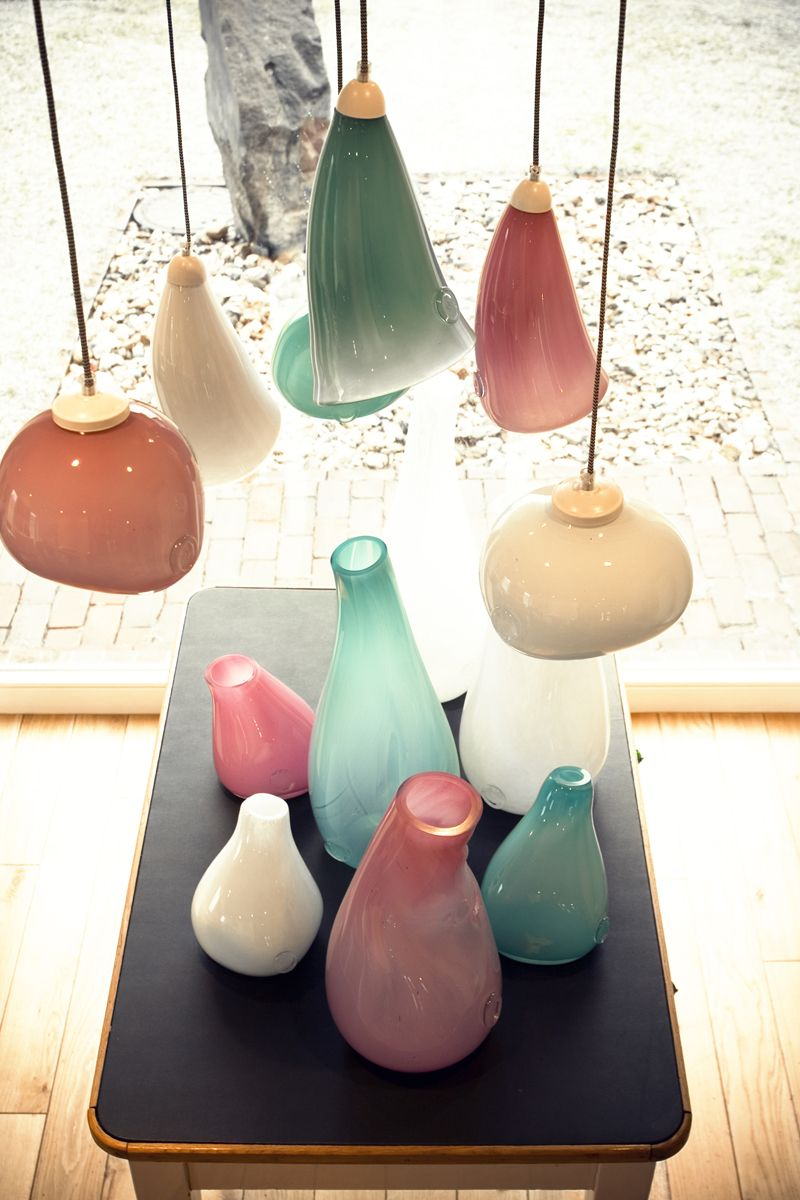 Glass + pastels = ❤ Pendant lamps, vases in different shapes and heights. Handmade in Poland by Gie El.